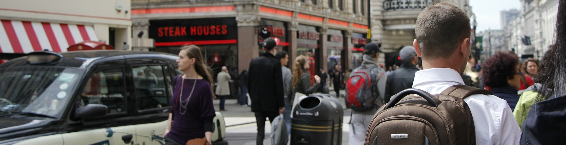 contractors walking through London city