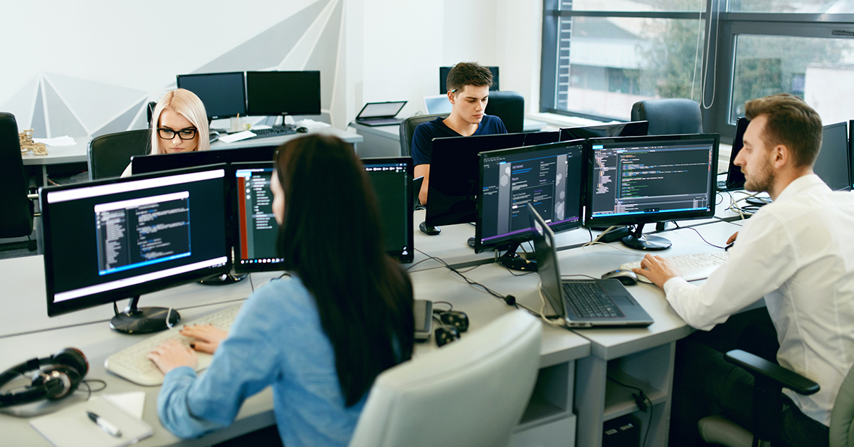 Employees Working at a Computer