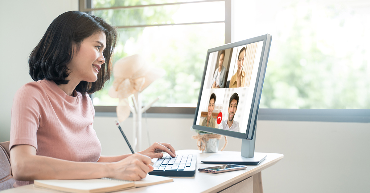 women video chatting on computer